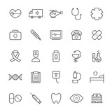 Collection of 25 linear medical icons. Thin icons for web, print, mobile apps design - 112856596