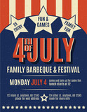 Retro 4th of July grunge flyer template