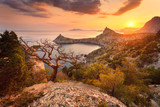 Fototapety Landscape with beautiful view on mountain valley and tree, blue sky and sea at sunrise. Travel background