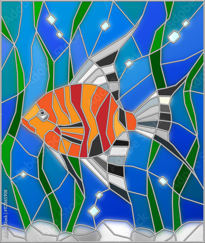 Naklejka Illustration in stained glass style fish scalar on the background of water and algae