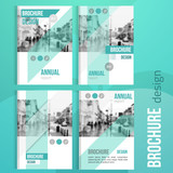 Set of Clean brochure cover templates with blured city landscape. Business brochure cover design, flyer brochure cover, professional corporate brochure cover.
