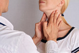 Woman getting thyroid gland control. Health care and medical concept