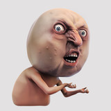 Internet meme Why You No. Rage face 3d illustration