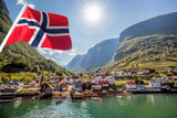 Beautiful Fishing village Undredal against mountain near the Flam in Norway - 112913363