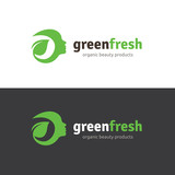 Green fresh logo, healthy logo,woman face and organic symbol.