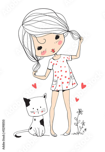 fototapeta na ścianę cute girl with cat