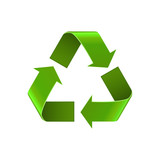 Recycle symbol isolated on white, green arrows sign, vector icon. Realistic Eco recycle icon