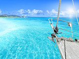 View of tropical beach from yacht. - Fine Art prints