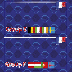 Infographic elements for football championship. Group E and F