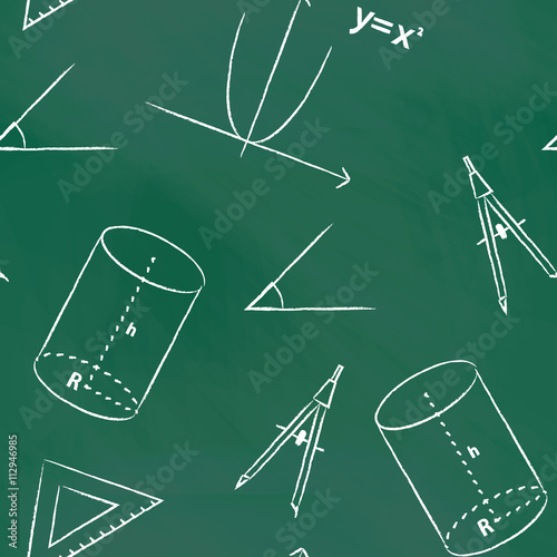 Staande foto Kunstmatig Seamless pattern back to school. Vector green blackboard written with white chalk schedule, formula, line, triangle, cylinder, compass and angle. Mathematical background for design tutorials