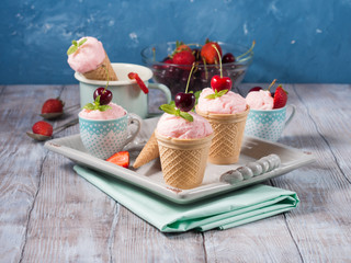 Strawberry ice cream. Retro style still life