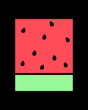 Vector print for t-shirt. Watermelon on a black background