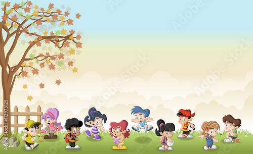 fototapeta na ścianę Green grass landscape with cute cartoon kids.
