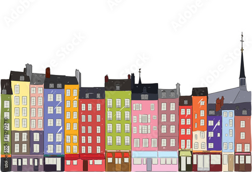 Cityscape Honfleur, vector illustration - 112975710