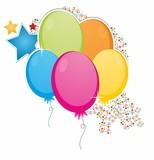 Kolorowe balony konfetti gwiazdki