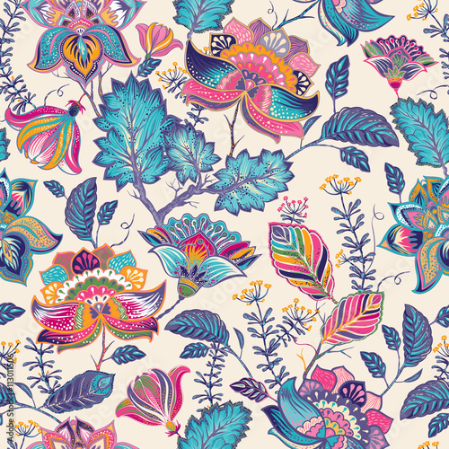 Cotton fabric Bright seamless pattern in paisley style