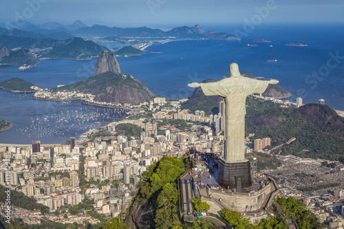 Poster Aerial panorama of Botafogo Bay and Sugar Loaf Mountain, Rio De Janeiro