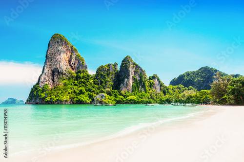 Poster Beauty beach and limestone rocks