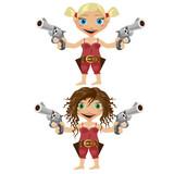 Two cartoon girls, blonde and brunette, with gun