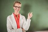 Teacher showing at blackboard