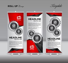 Roll Up Banner template display advertisement vector illustratio