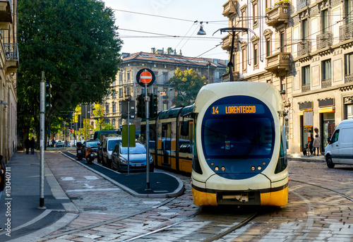 Modern tram on the streets of Milan. Italy. Canvas Print