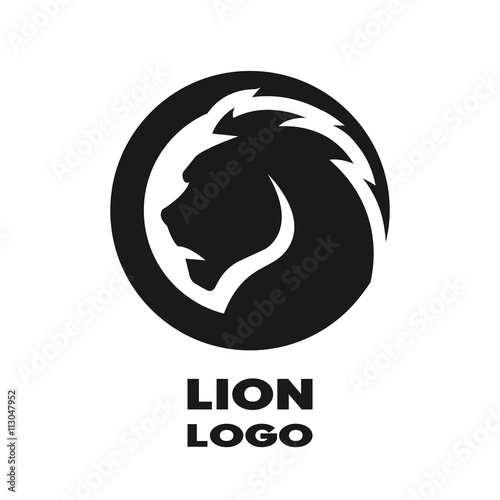 Fototapeta Silhouette of the lion, monochrome logo.