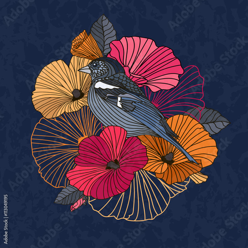 Fototapeta Vintage vector illustration of a bird with flowers in the garden. Abstract flowers and bird in the garden in red and orange on a dark background