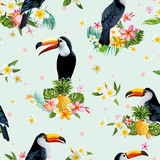 Toucan Bird. Tropical Flowers Background. Retro Seamless Pattern - 113054975