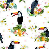 Toucan Bird. Tropical Flowers Background. Retro Seamless Pattern - 113054997