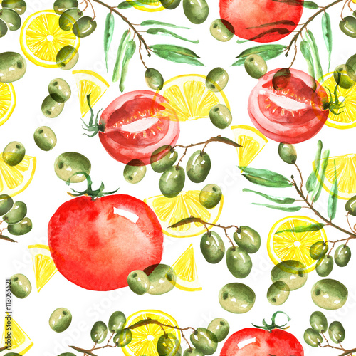 Fototapeta Watercolor seamless pattern. Olives, lemon slices, twigs, berries, vegetables on a white background