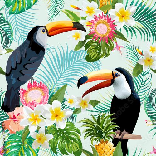 Fototapeta Tropical Flowers and Birds Background. Vintage Seamless Pattern.