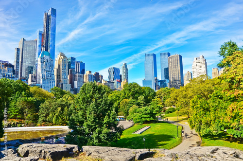 View of Central Park in a sunny day in New York City. Poster