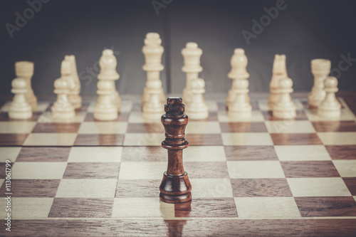 Poster, Tablou chess leadership conception on the wooden chessboard