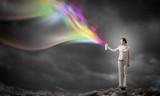 Woman use paint spray