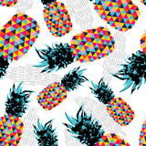 Fototapety Summer seamless pattern with color retro pineapple
