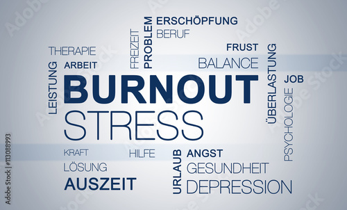 Leinwanddruck Bild Burnout Stress Grafik