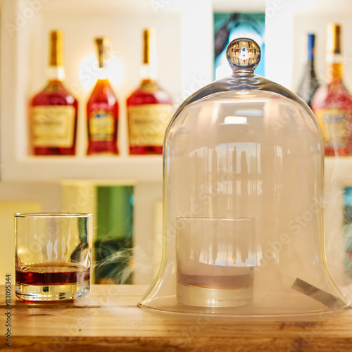 Poster Guatemalan rum under a glass dome