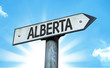Alberta direction sign in a concept image