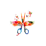Hairdressing background with colorful  scissors with wings