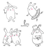 Funny bunnies on a white background