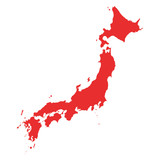 Japan Vector Map on white background