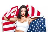 Sexy woman holding USA flag