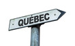Quebec direction sign isolated on white background