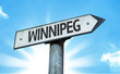 Winnipeg direction sign in a concept image