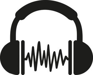 Headphone with music waves