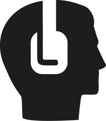 Head icon with headpones