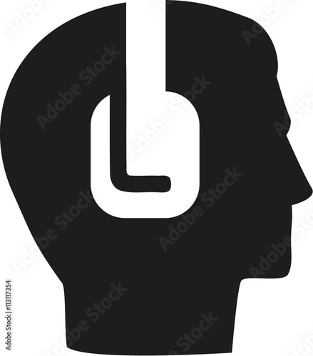 Head icon with headpones