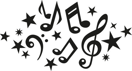 Music notes with clef and stars
