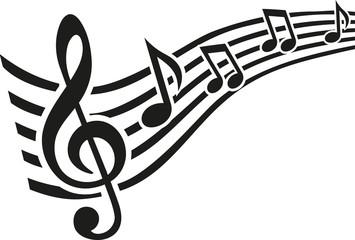 Music note line swirl